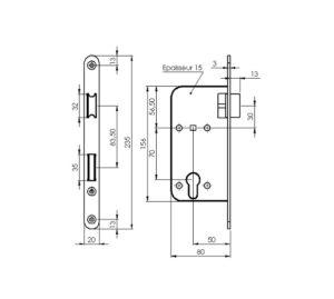 schéma de serrure de porte tout inox 304L