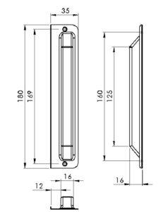 schéma de gâche fermée avec ailette de positionnement pour porte