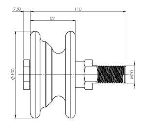 schéma dimensions galet d'ouverture de porte LEICHLE