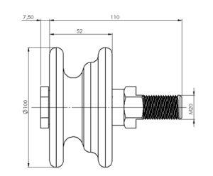 schéma dimensions galet de fermeture de porte LEICHLE