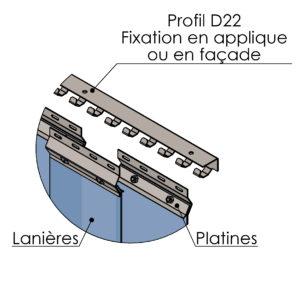 schéma profil de fixation SPENLE D22 pour rideaux à lanières