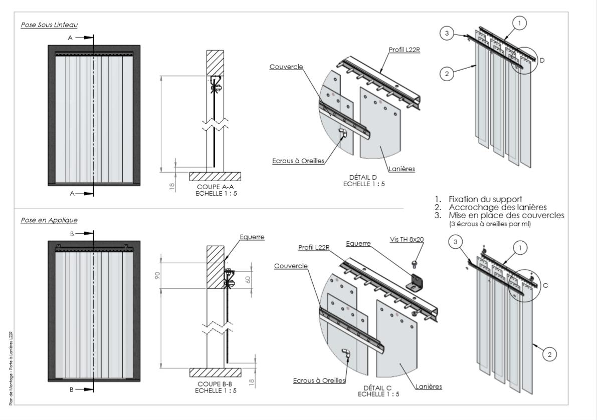 notice montage kit rideau à lanières L22