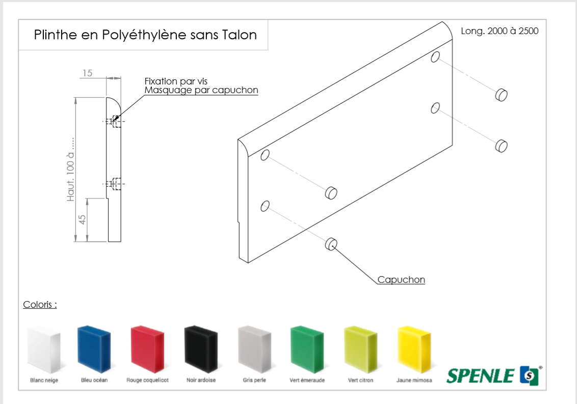 Sockeldesign aus Polyethylen mit Absatz