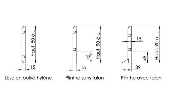 schémas différents modèles de protections murales SPENLE